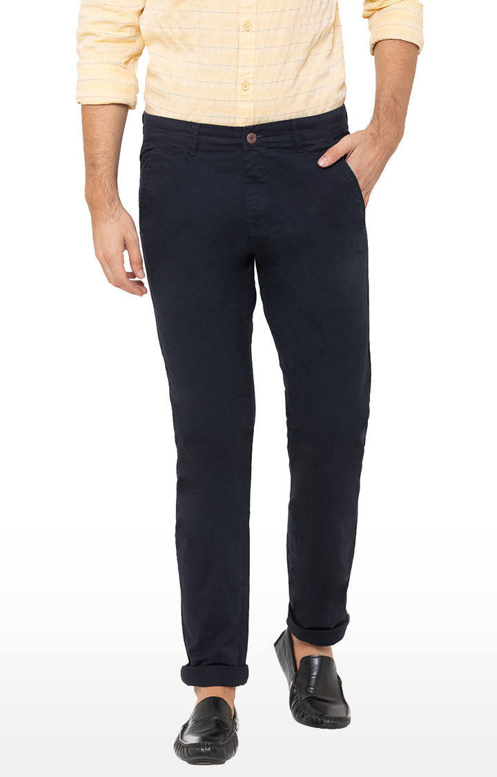 globus | Blue Solid Tapered Chinos