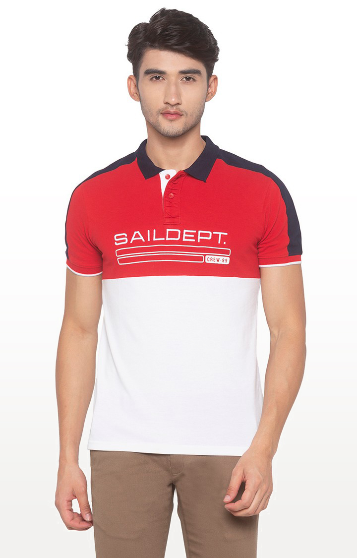 globus | White and Red Printed Polo T-Shirt