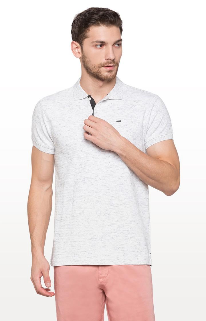 globus | White Self Design Polo T-Shirt