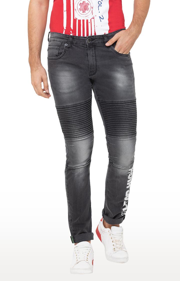 globus | Grey Printed Tapered Jeans