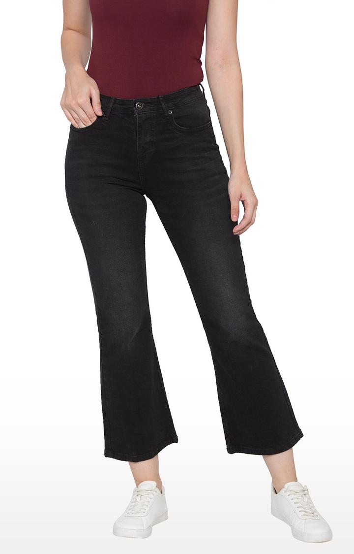 globus | Black Solid Flared Jeans