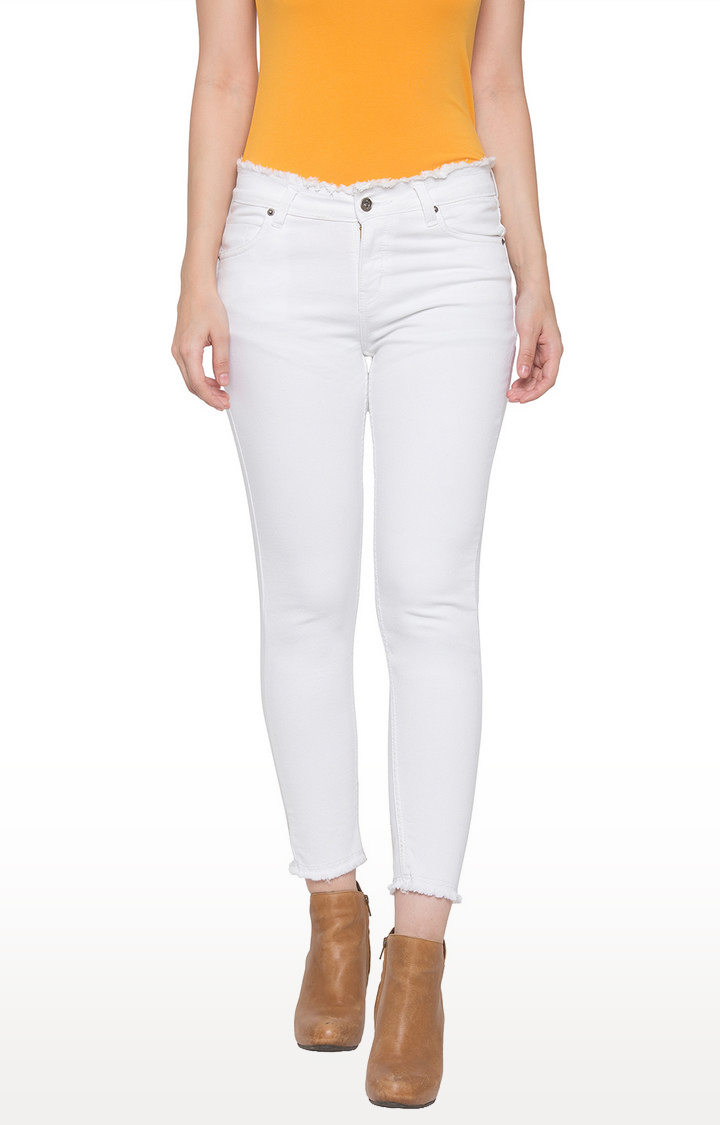 globus | White Solid Skinny Fit Jeans