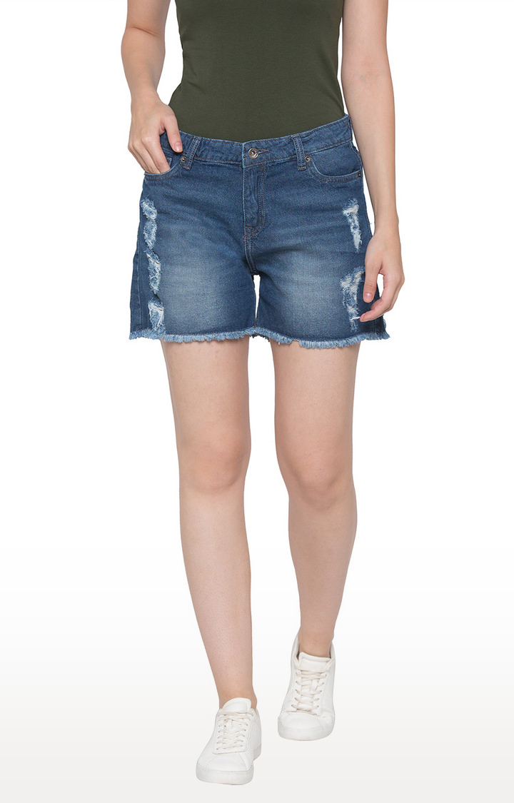 globus | Blue Ripped Shorts