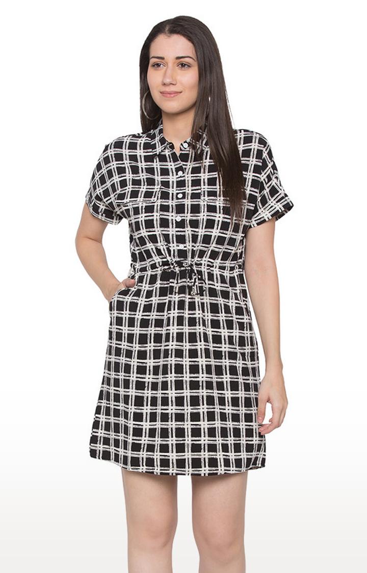 globus | Black Checked Skater Dress