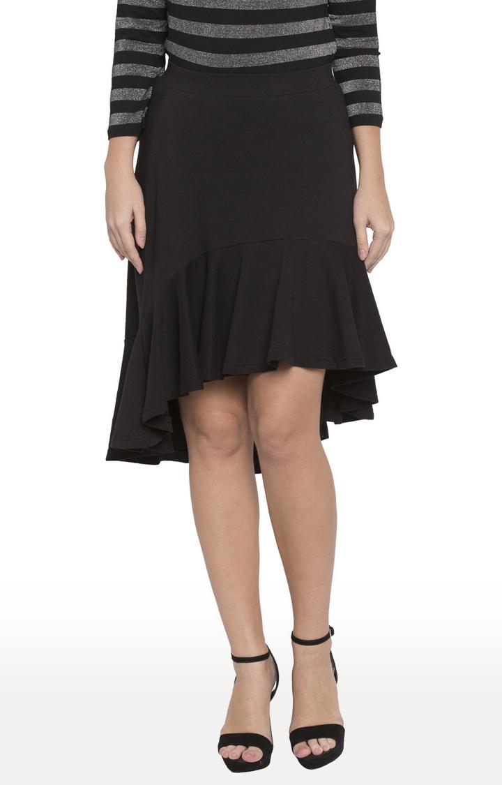 globus   Black Solid Asymmetric Skirt