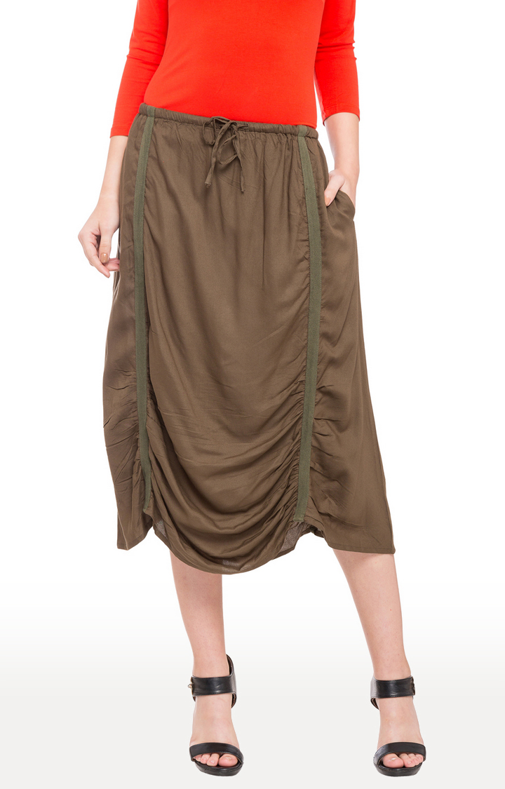 globus | Green Solid Ruched Detail Calf Length Skirt