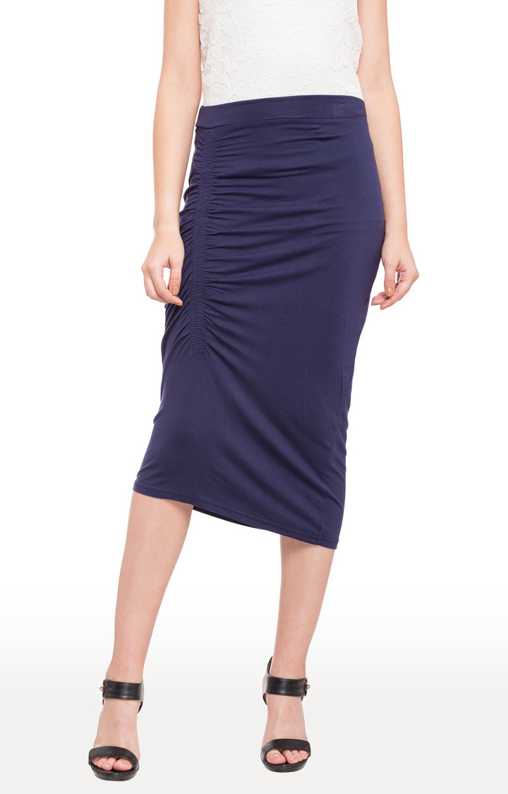 globus | Blue Solid Ruched Detail Calf Length Skirt