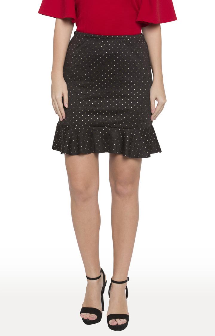 globus   Black Polka Dots Mini Skirt
