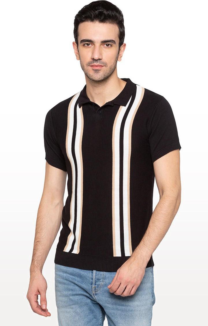 globus   Black Striped Polo T-Shirt