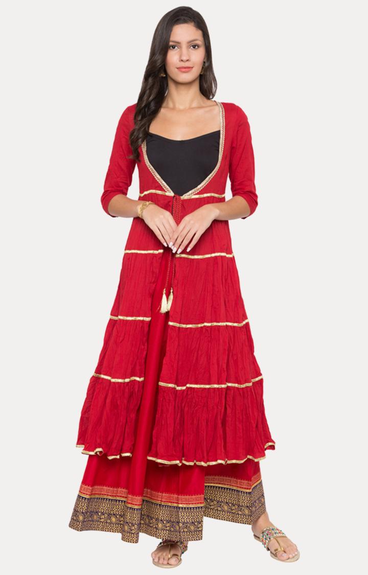globus   Red Solid Ethnic Jacket