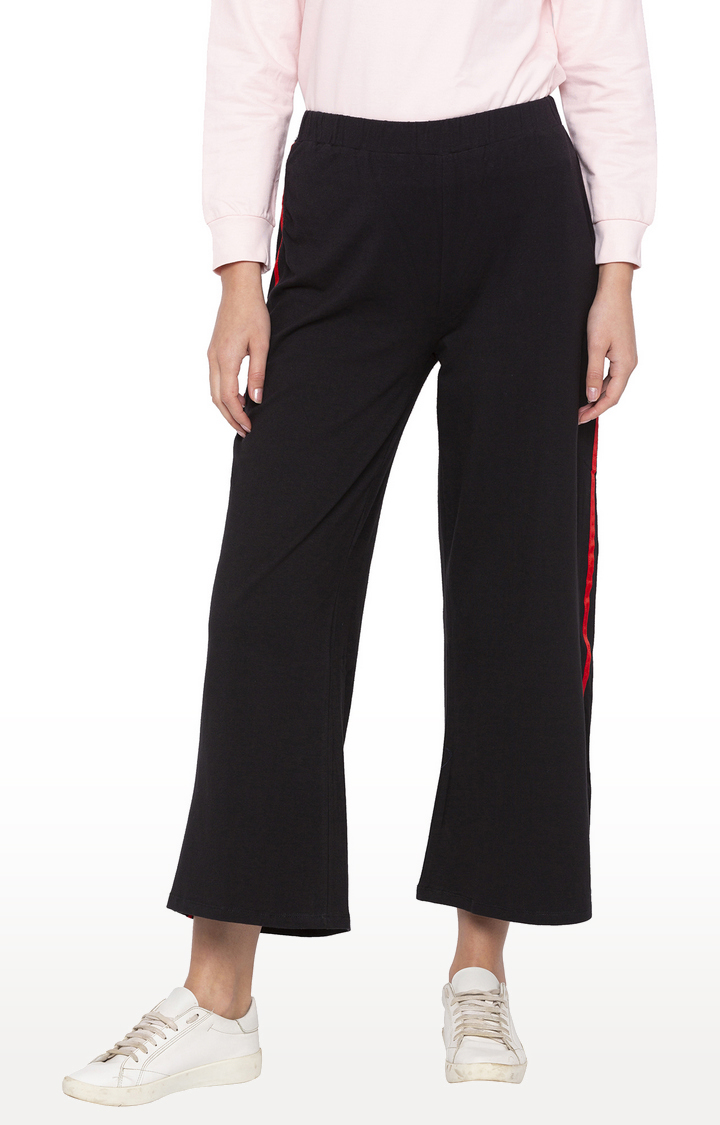globus | Black Loose Fit Cropped Parallel Trousers