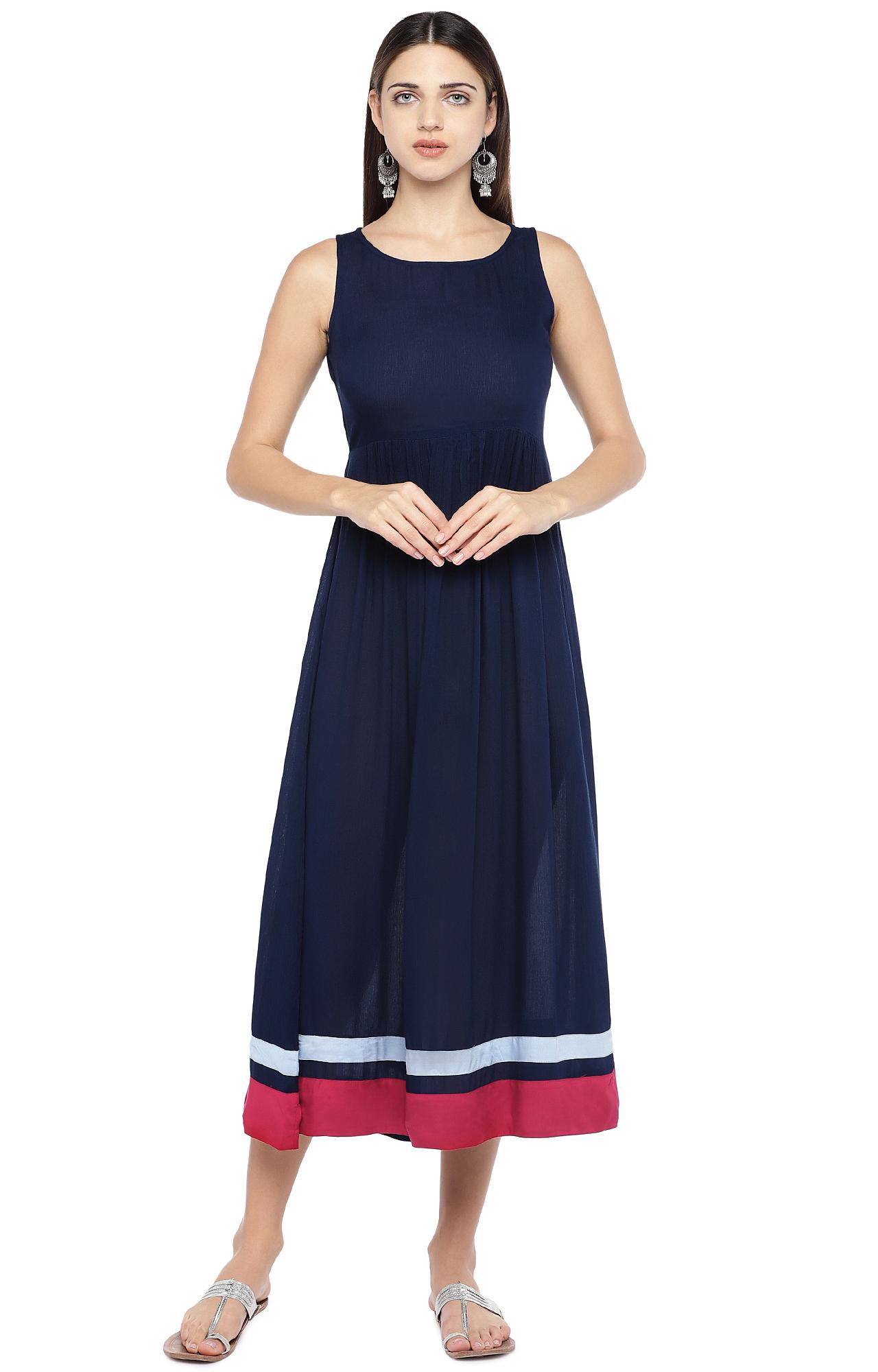 globus | Blue Solid Maxi Dress