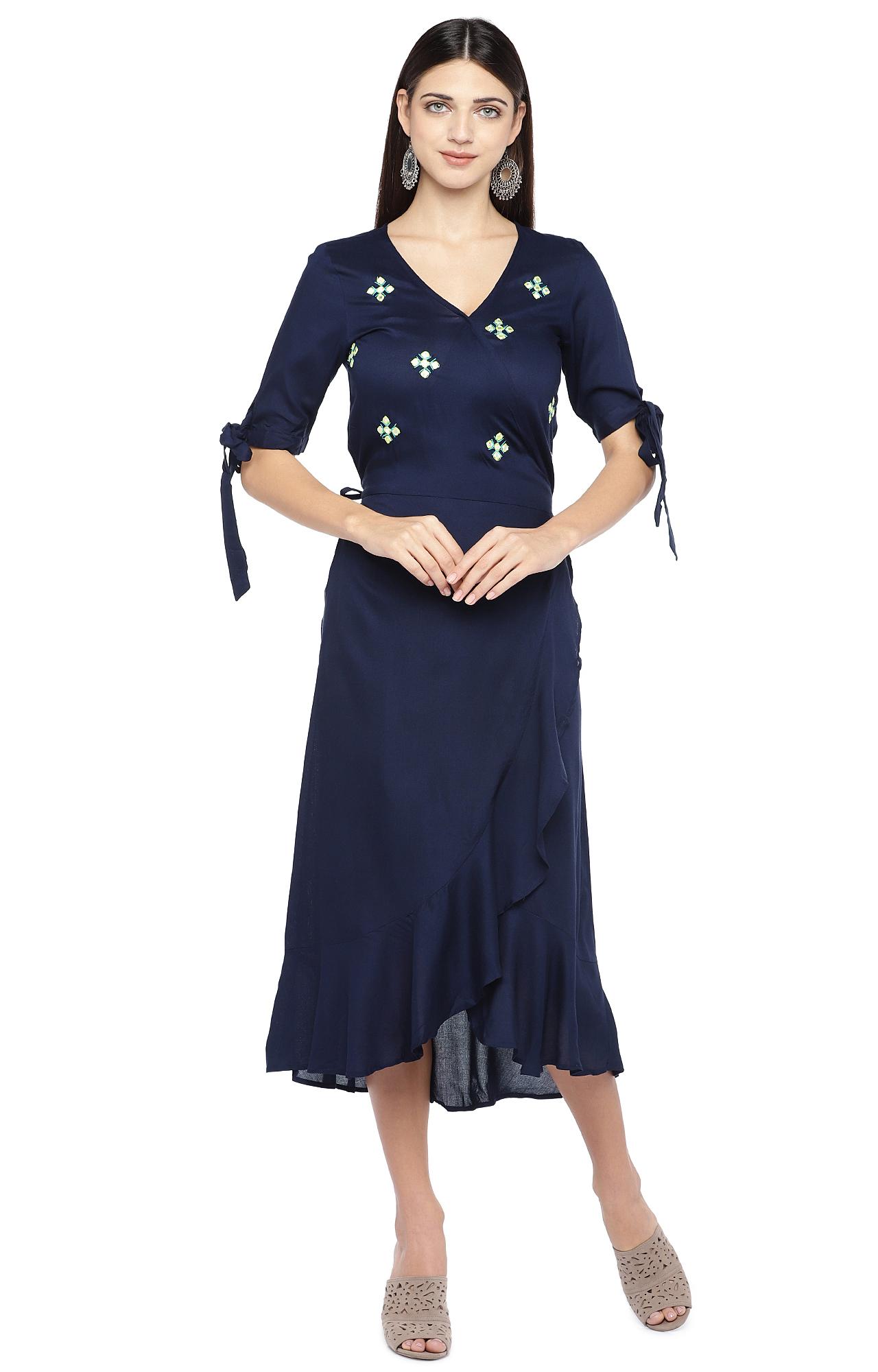 globus | Blue Embroidered Asymmetric Dress