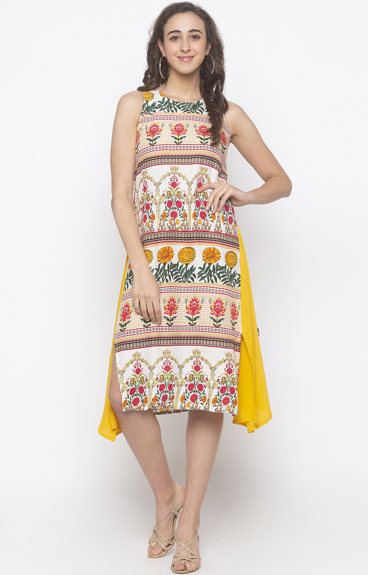 globus | Yellow Printed Asymmetric Dress
