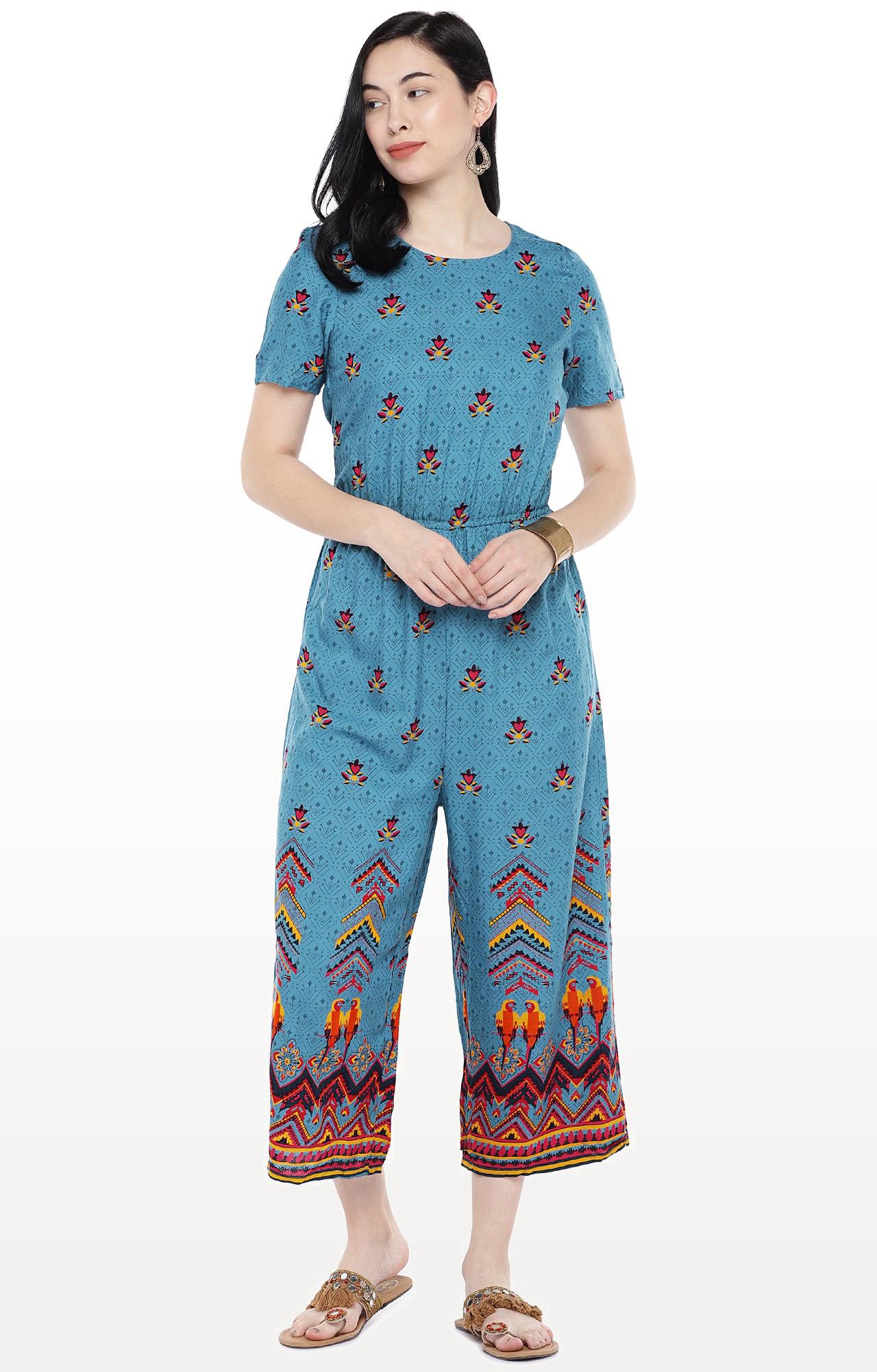 globus   Blue Printed Jumpsuit