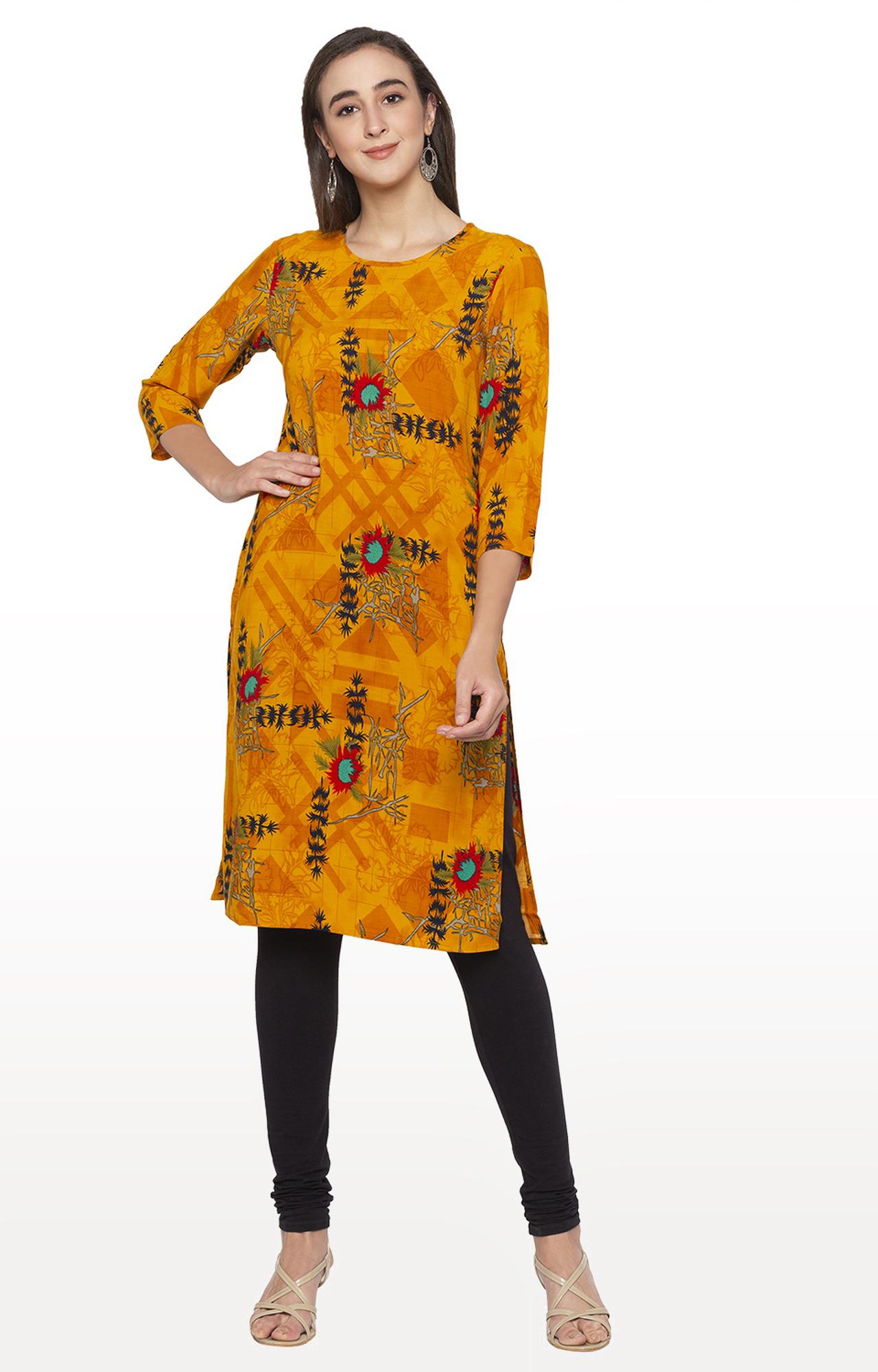 globus | Yellow Embroidered Regular Kurti