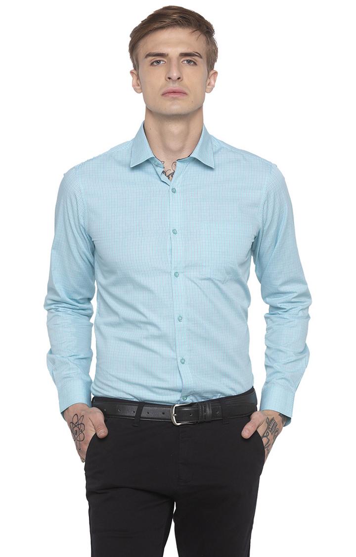 globus   Blue Checked Formal Shirt