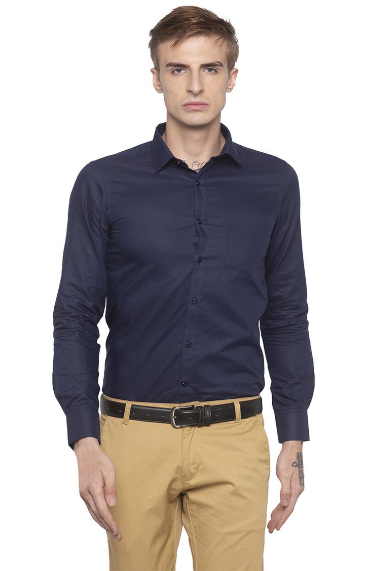 globus   Blue Solid Formal Shirt