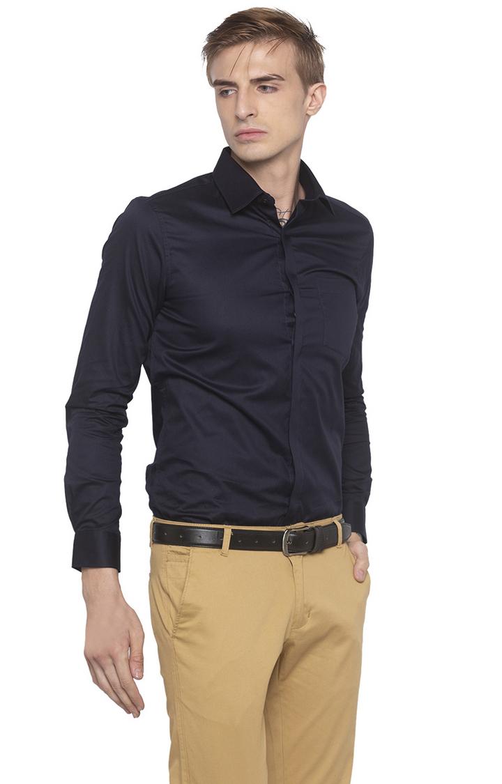 globus | Blue Solid Formal Shirt