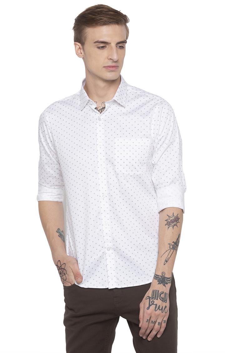 globus | White Printed Casual Shirt