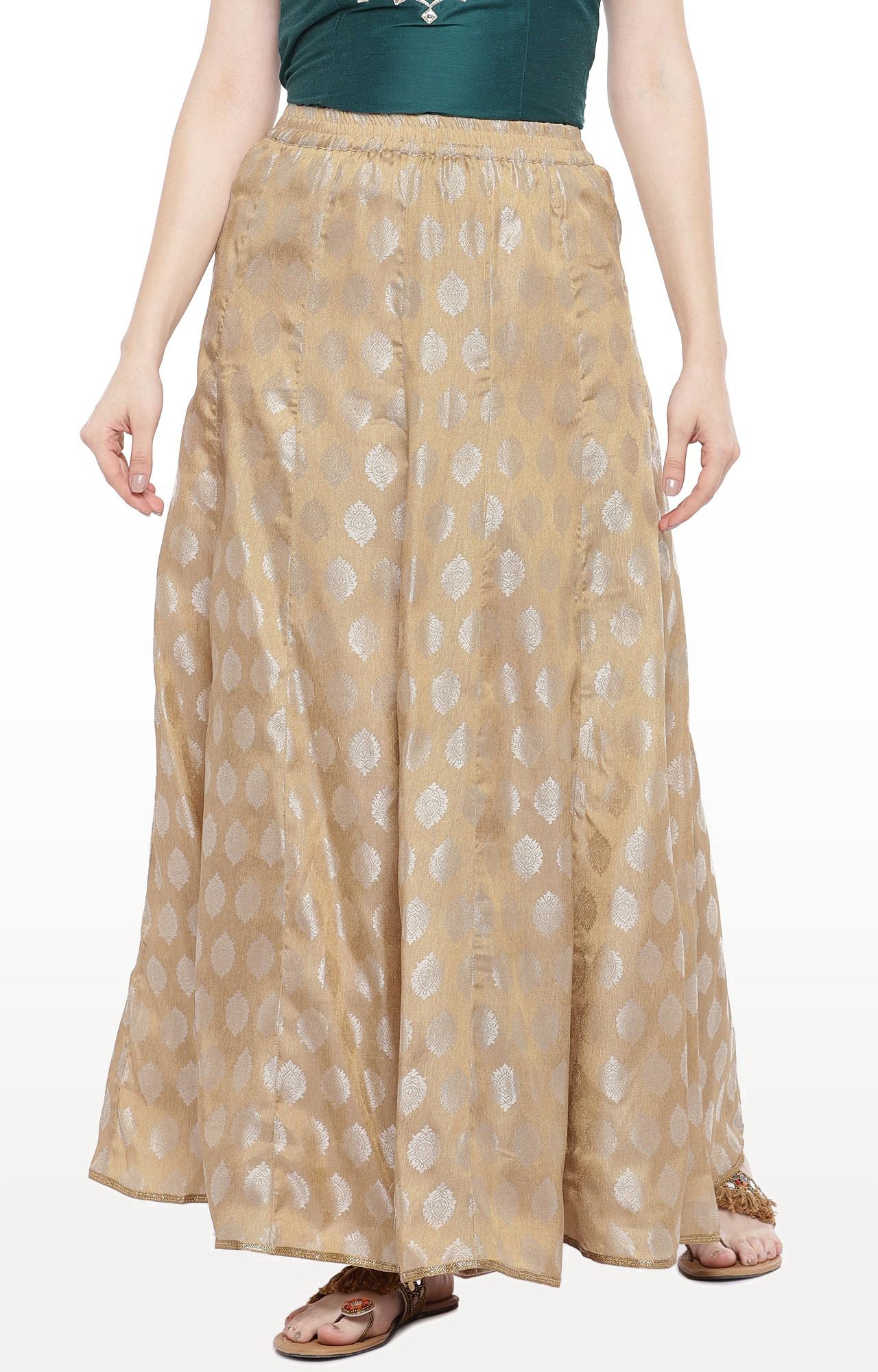 globus | Gold Printed Flared Skirt