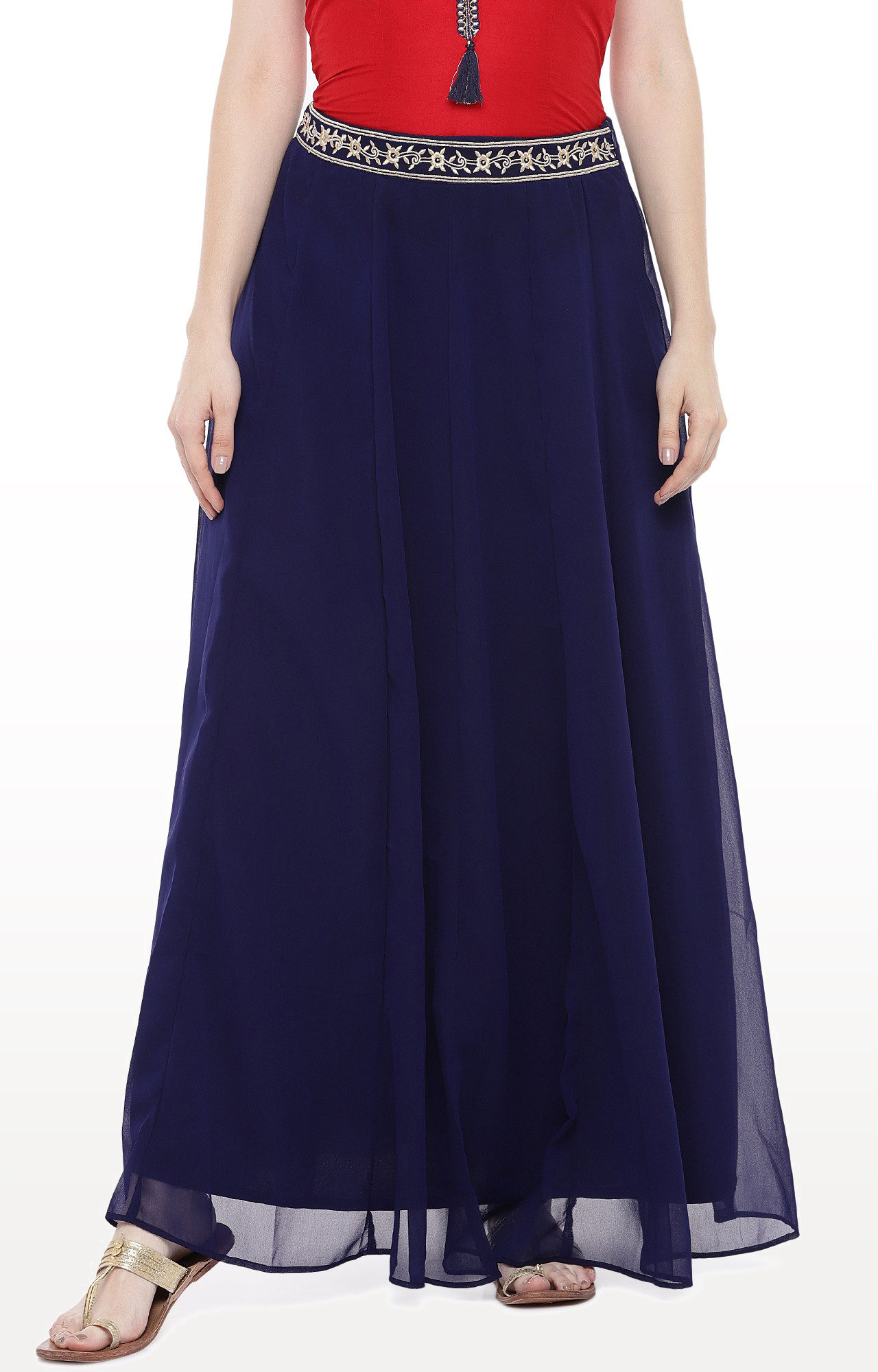 globus | Blue Solid Flared Skirt