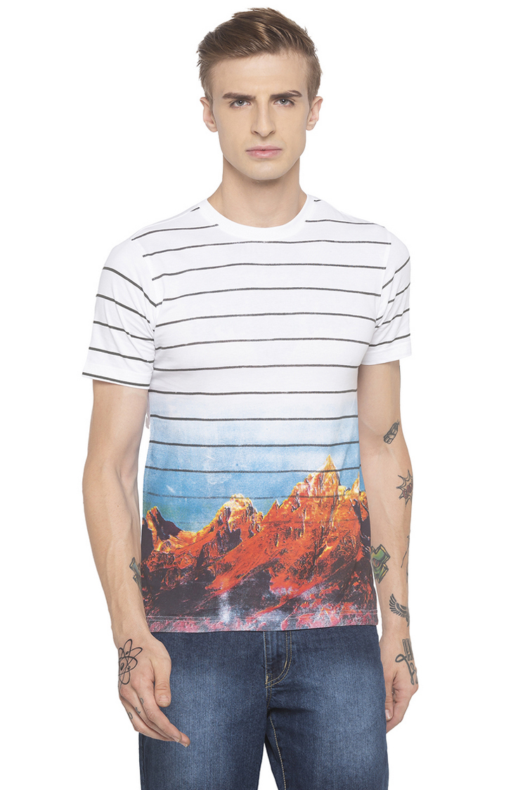globus   White Striped T-Shirt