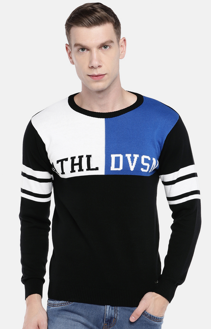 globus   Blue and Black Printed Sweatshirt
