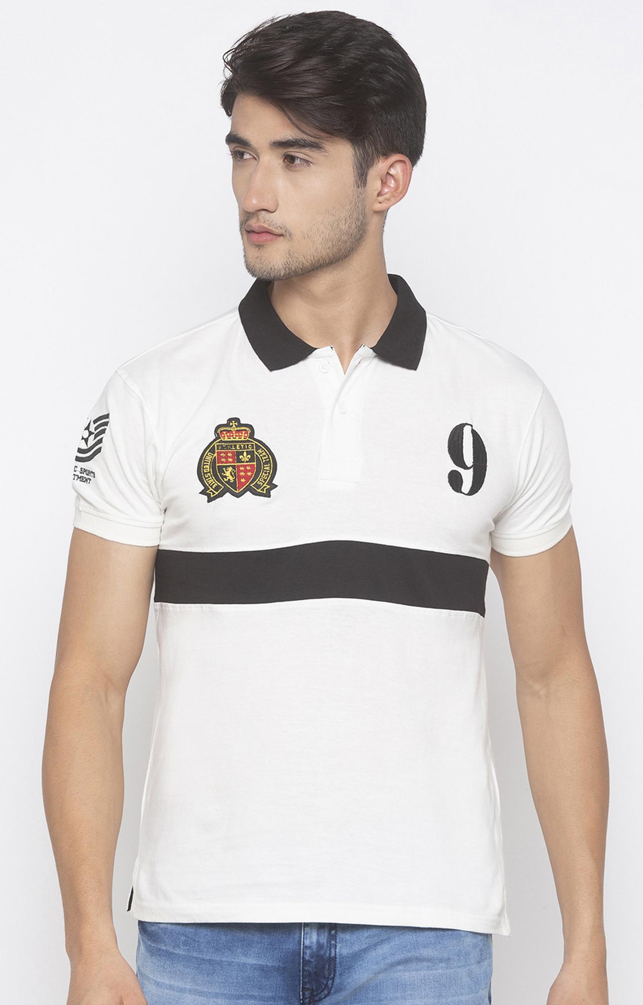 globus   White Printed Polo T-Shirt