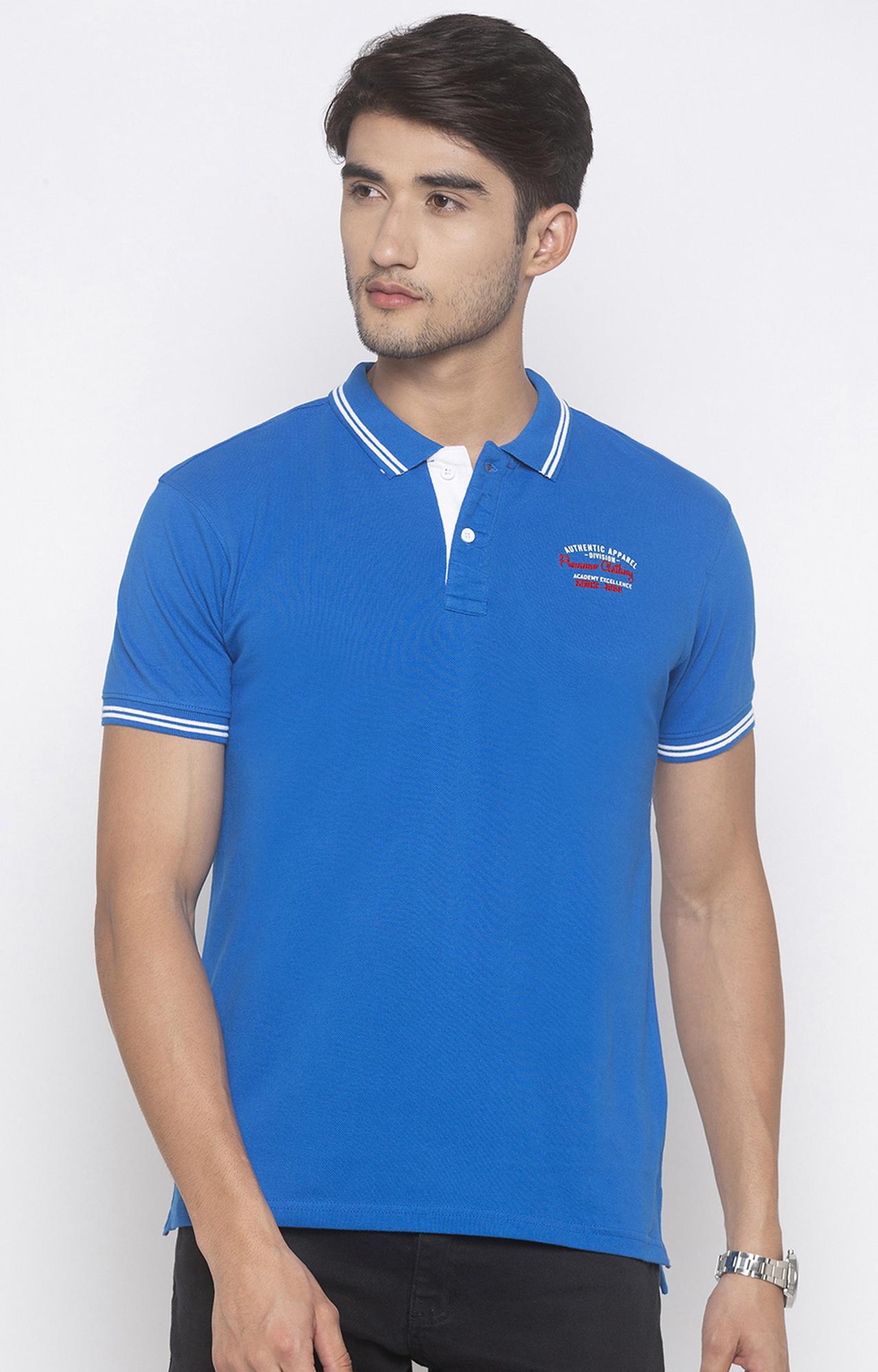 globus | Blue Solid Polo T-Shirt