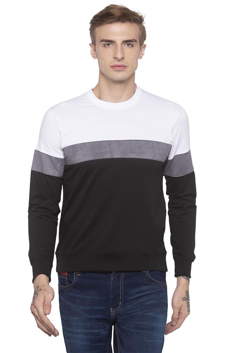 globus   White and Black Colourblock Sweatshirt