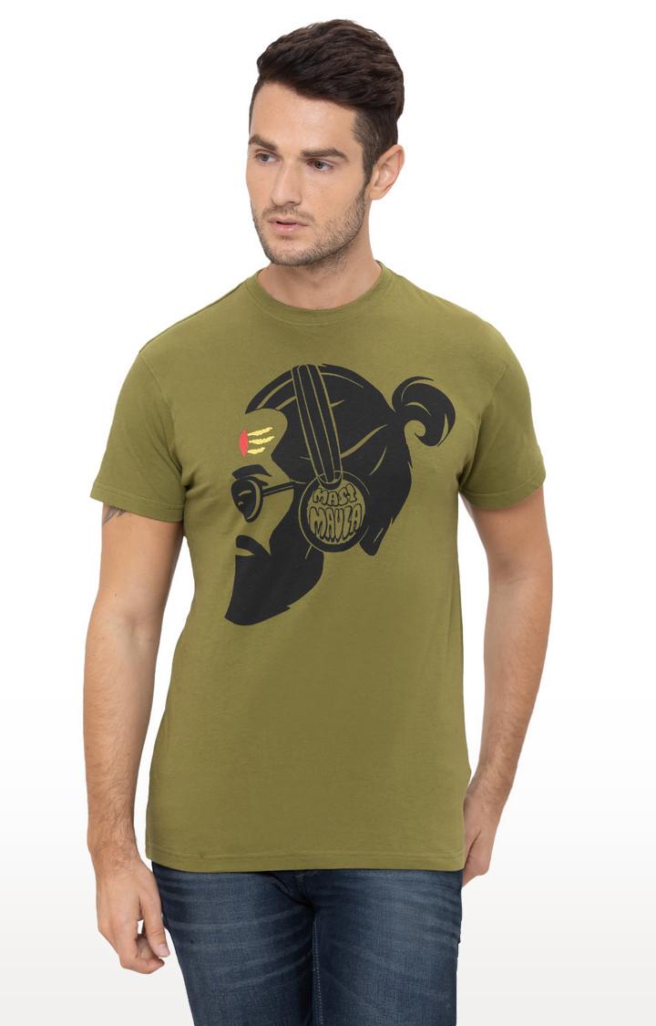 globus | Olive Printed T-Shirt