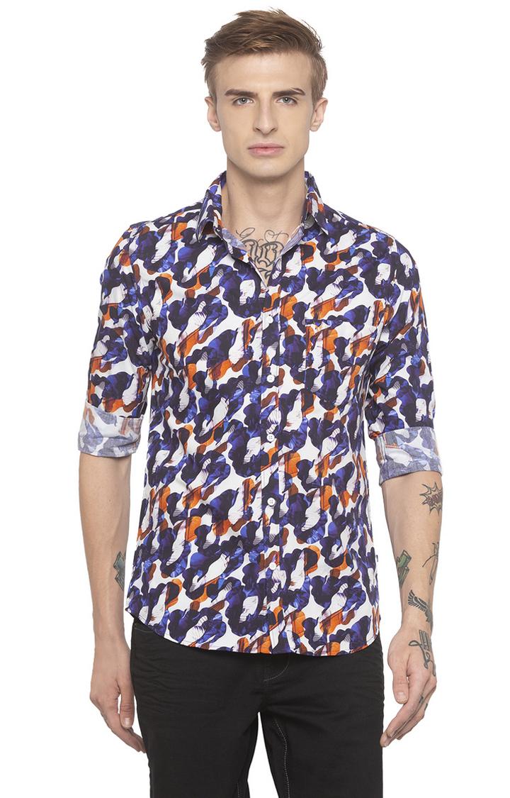globus | Blue Printed Casual Shirt