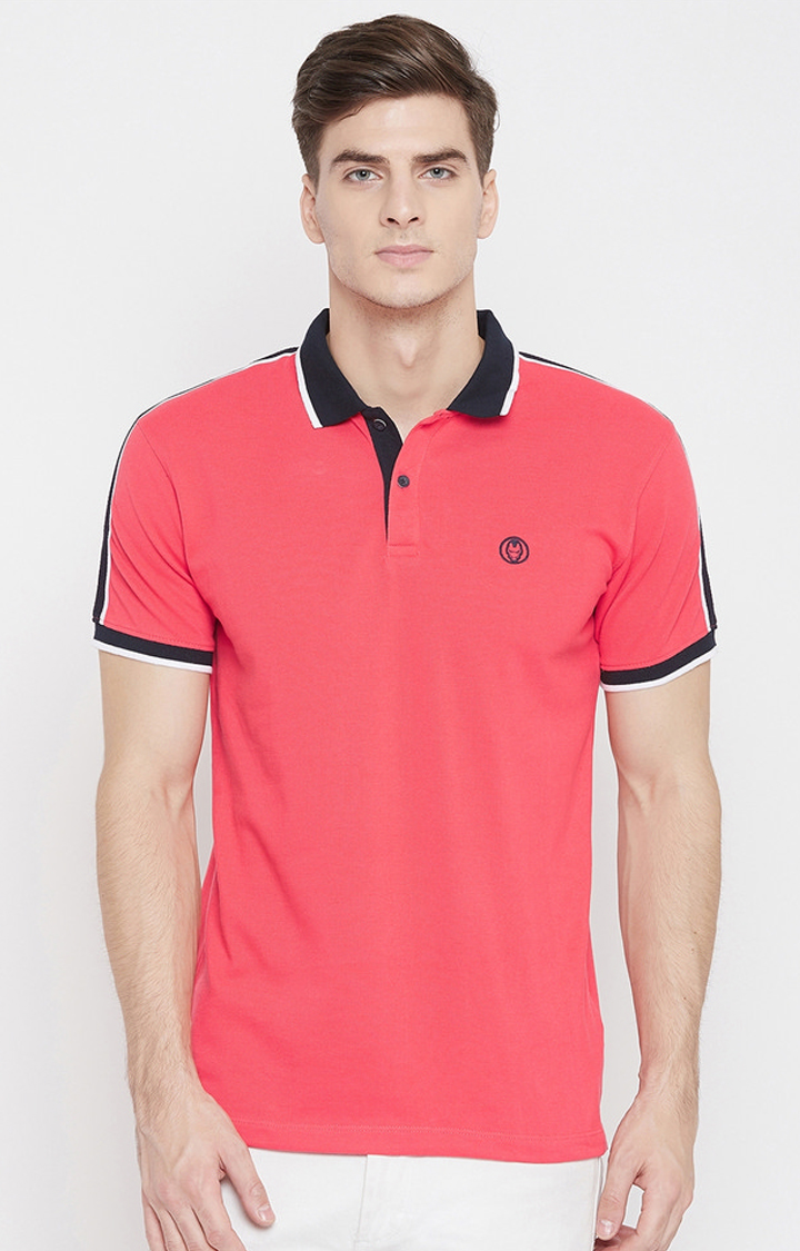 OCTAVE   Miami Red Solid Polo T-Shirt