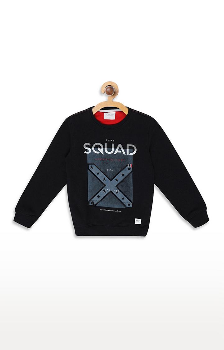 OCTAVE | Navy Printed Sweatshirt