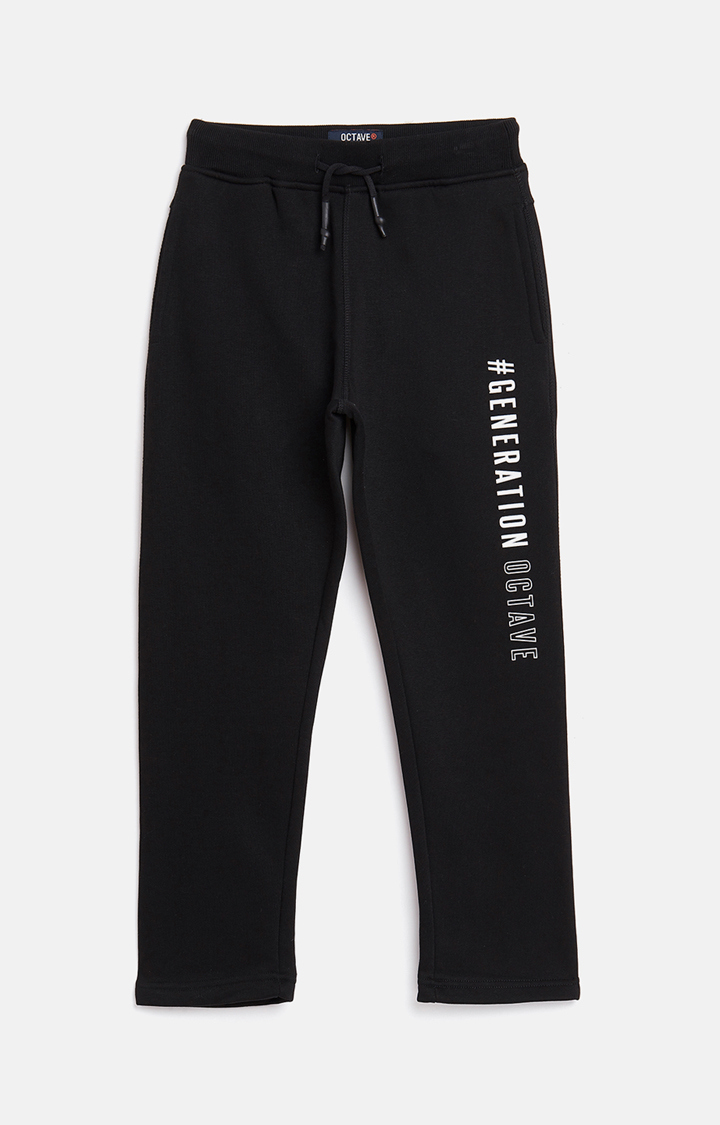 OCTAVE | Black Printed Casual Pants