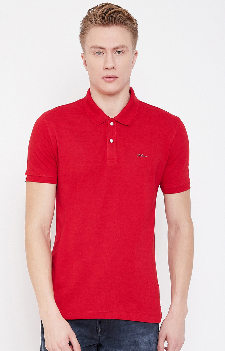 OCTAVE   Brick Red Solid Polo T-Shirt