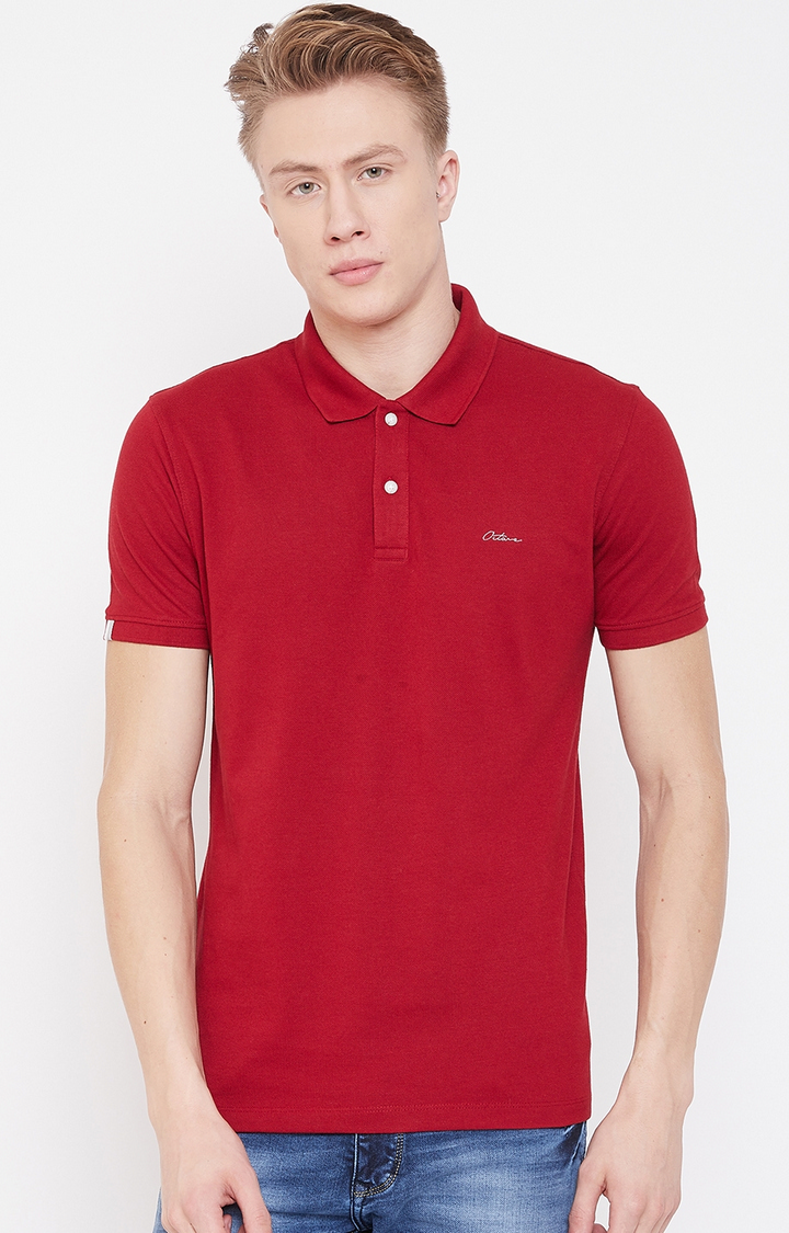 OCTAVE   Red Solid Polo T-Shirt