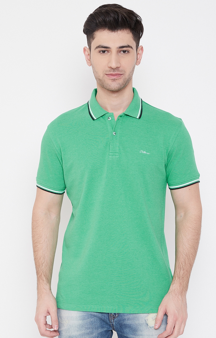 OCTAVE   Green Melange Polo T-Shirt