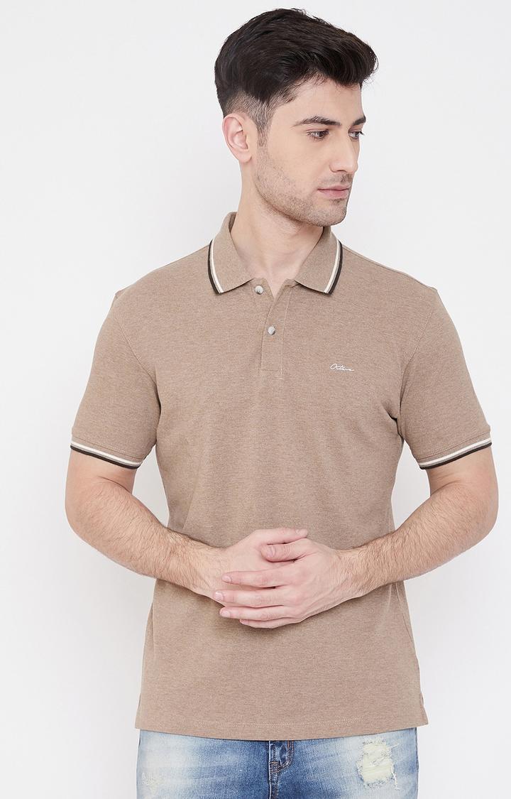 OCTAVE   Khaki Melange Polo T-Shirt