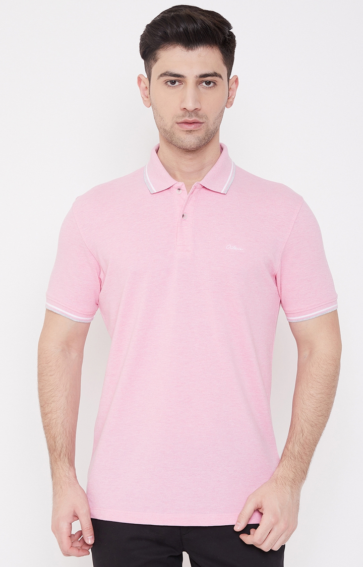 OCTAVE   Pink Solid Polo T-Shirt