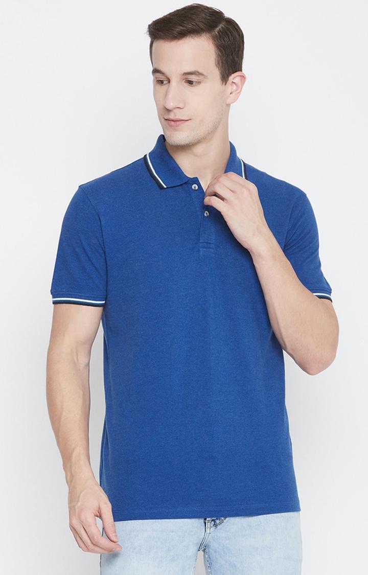 OCTAVE   Royal Melange Solid Polo T-Shirt
