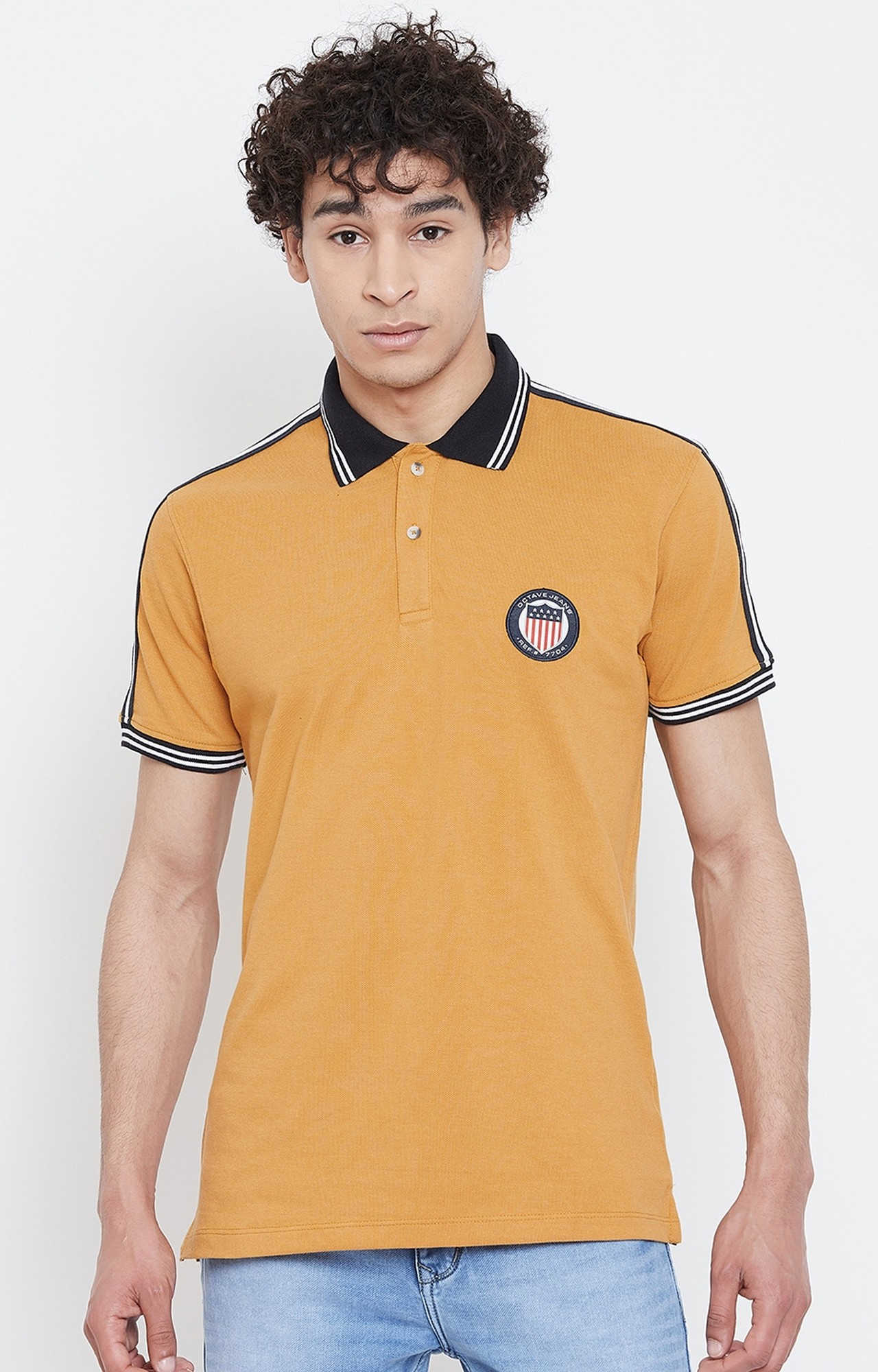 OCTAVE   Dusty Mustard Solid Polo T-Shirt