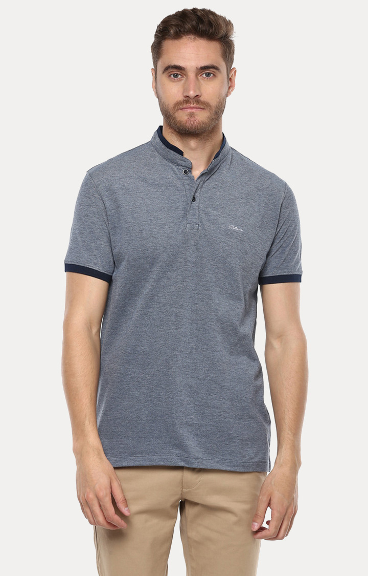 OCTAVE | Denim Solid Polo T-Shirt