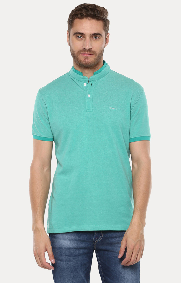 OCTAVE | Emerald Solid Polo T-Shirt