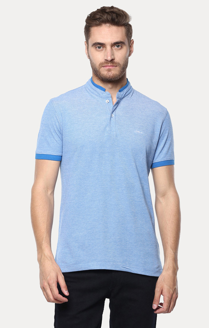 OCTAVE | Blue Solid Polo T-Shirt