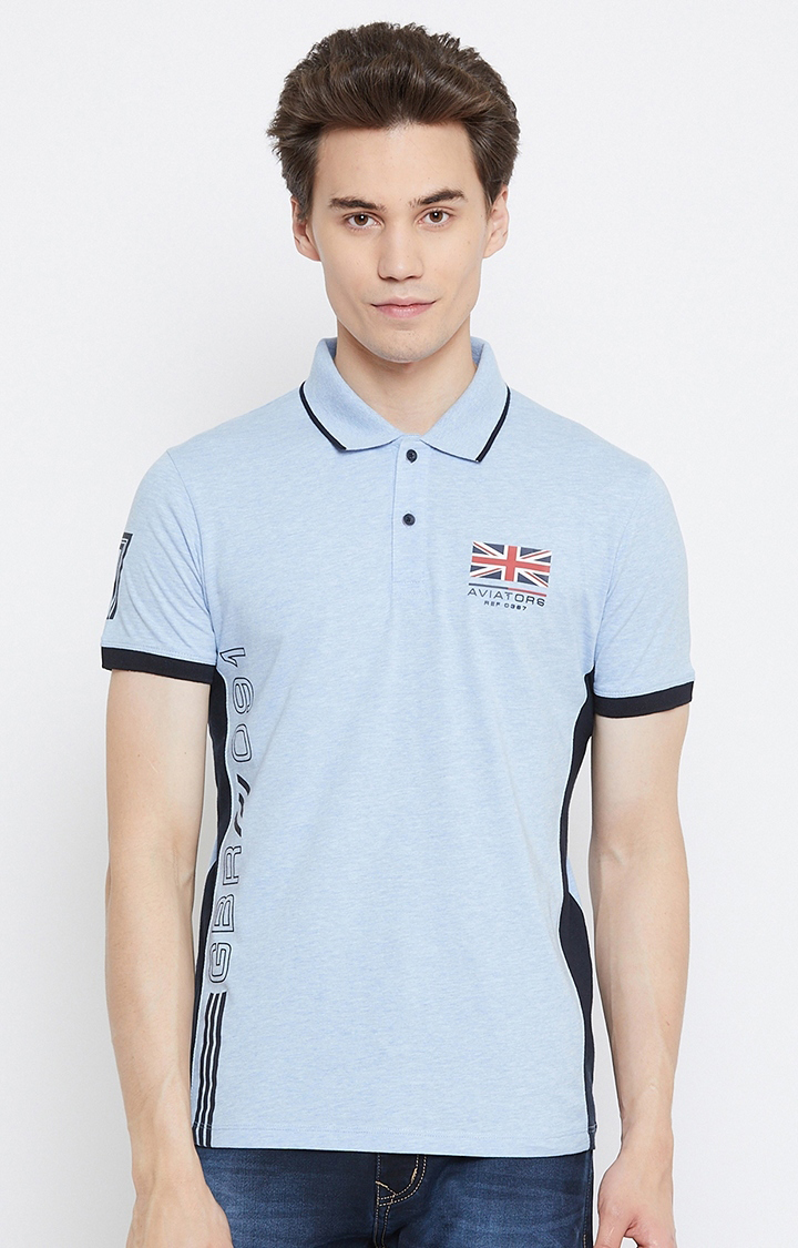 OCTAVE   Sky Blue Solid Polo T-Shirt