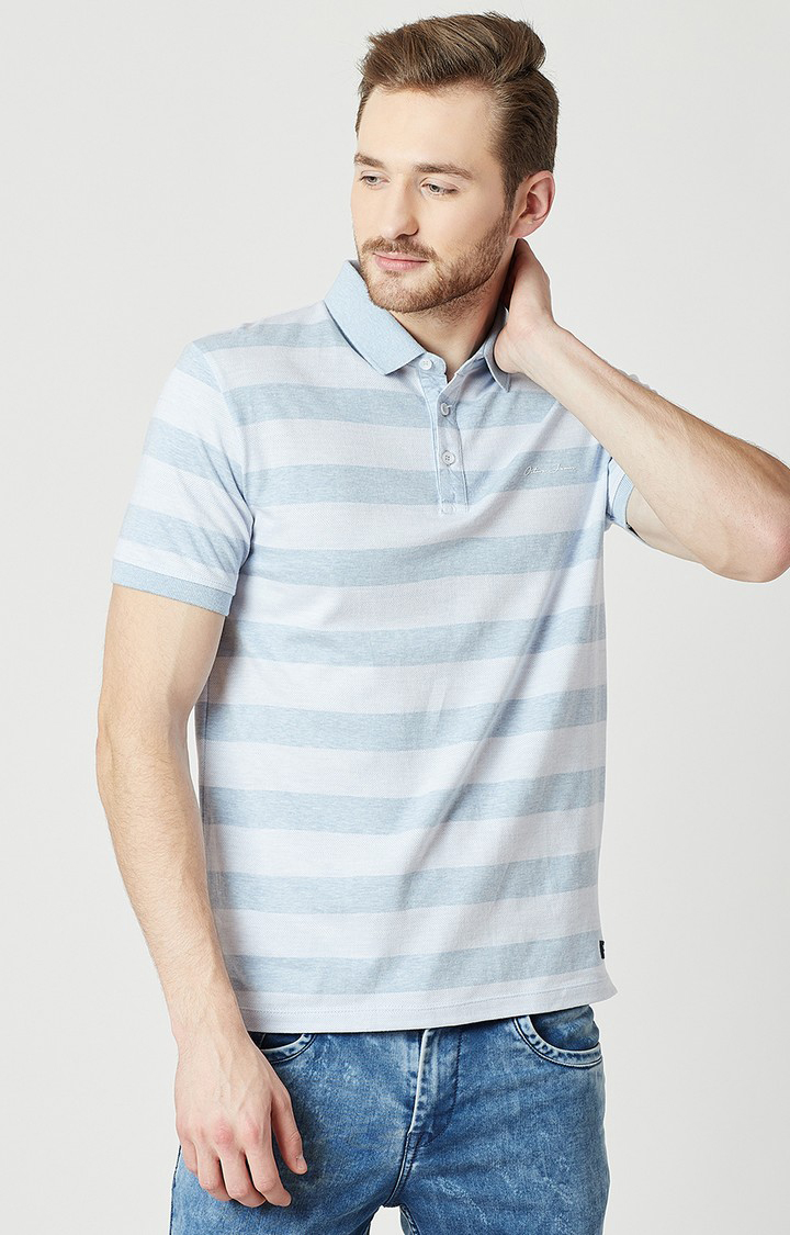 OCTAVE | Blue Striped Polo T-Shirt