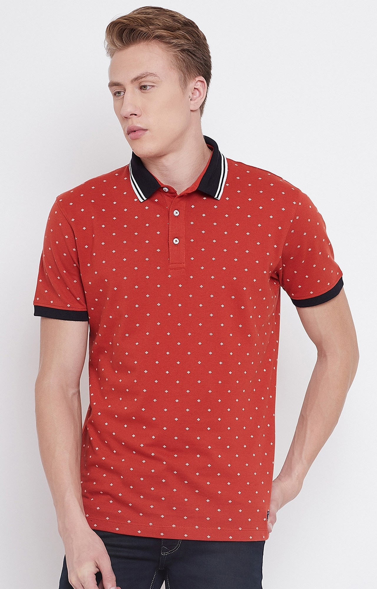 OCTAVE   Rust Printed Polo T-Shirt