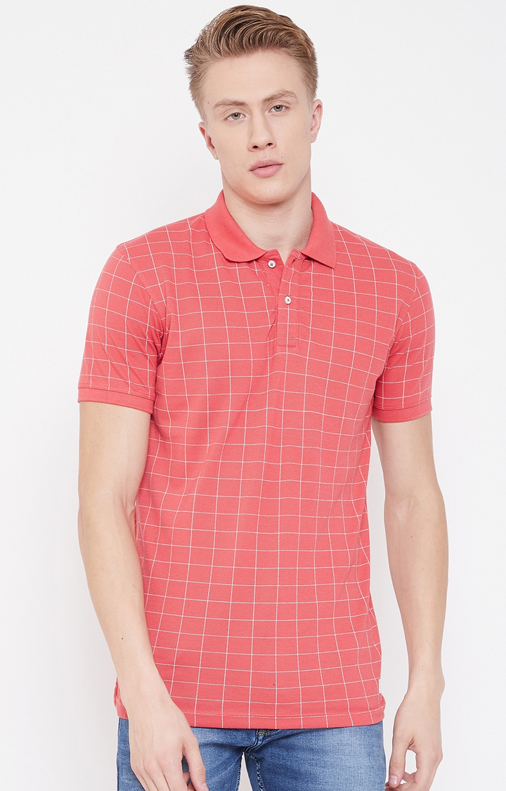 OCTAVE   Coral Checked Polo T-Shirt